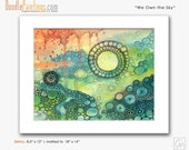 DoodlePainting ORIGINAL 14x18 Abstract Circles Landscape Watercolor in Mat: We Own the Sky