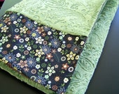 Olive Green Paisley Minky with Moda floral strip and brown twin-size sheet blanket