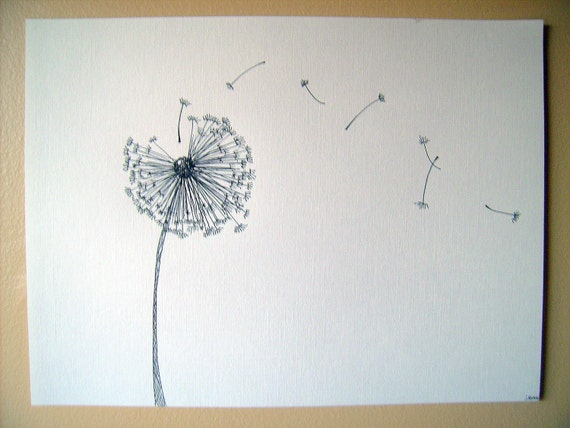 Hand drawn dandelion ink artwork for How to draw a dandelion step by step