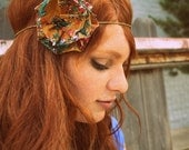 Braided Gold Headband with fall colored Flower