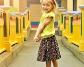 Autumn and Fall Girls and Toddler Black Corduroy Flower Twirl Skirt . . . Sizes 2T 3T 4 5 6