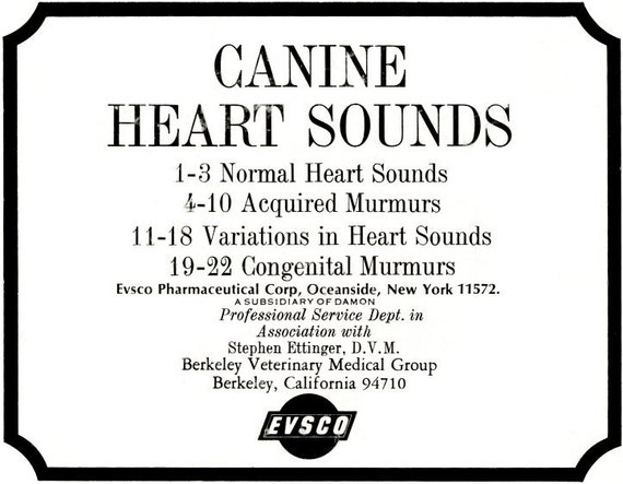 Vintage Canine Heart Sounds Veterinary LP Record
