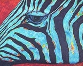 Blue Zebra, African Wildlife, Boy, Girl Room Decor, Abstract, FREE SHIPPING, Original Framed Acrylic Painting by ebsq  Artist Ricky Martin