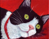 Cat Nap, Kitty, Pet, Animal, Tuxedo Cat - Original Art Oil Painting by ebsq Artist Ricky Martin - FREE SHIPPING