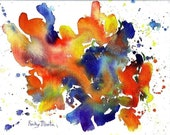 Abstract  Expressions  -  Modern Home Decor, Display - Original Watercolor Painting on Canvas by  ebsq Artist Ricky Martin - FREE SHIPPING