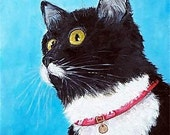 Tuxedo Cat, Pet, Children, Story Book, Original  Oil Painting by ebsq Artist Ricky Martin - FREE SHIPPING