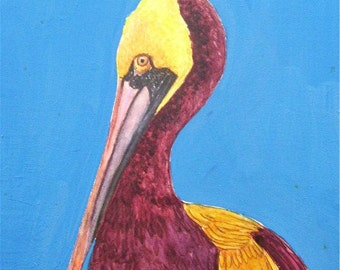 Pelican, Shore Bird, Nursery, Child, Toddler, Girl, Boy, Home Decor -  Original Watercolor Painting  by Ricky Martin