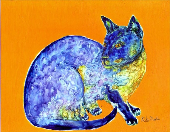 Siamese Cat, Pop,  Pet, Animal, Kid's Room -  FREE SHIPPING - Original Fine Art Watercolor Painting by ebsq Artist  Ricky Martin