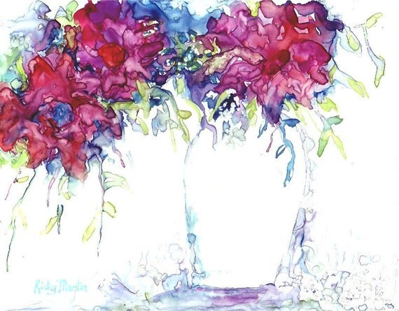 Pink Bouquet, Vase  -   RESERVED for LUBA - Original Fine Art  Watercolor  Painting by ebsq Artist Ricky Martin