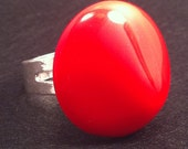 Adjustable Ring: Cherry Red Valentine Upcycled