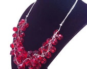 Wire Crochet Red Cluster Necklace Cluster