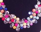 Necklace Wire Crochet Rainbow Pearl Earrings