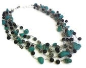 Necklace Turquoise Glass Blue Black  Silver Southwest Free Earrings