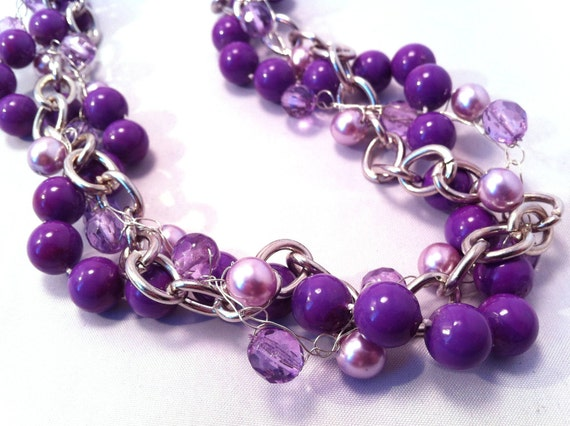 Necklace Purple Twisted Recycled Upcycled