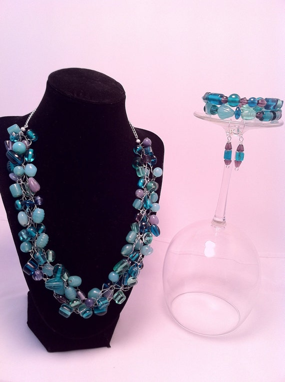 Necklace Wire Crochet Purple Blue Aqua with Earrings