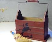 cowboy red wood tote box
