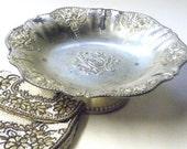 vintage silverplate pedestal bowl