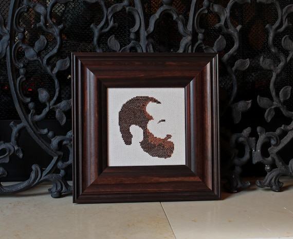 Portrait of the Artist as a Young Beard - cross stitch