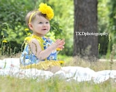 Baby Pillowcase Dress and ruffle bloomers White Daisies in Blue with Yellow Polka Dot Made To Order sizes  0-3 to12-18 months