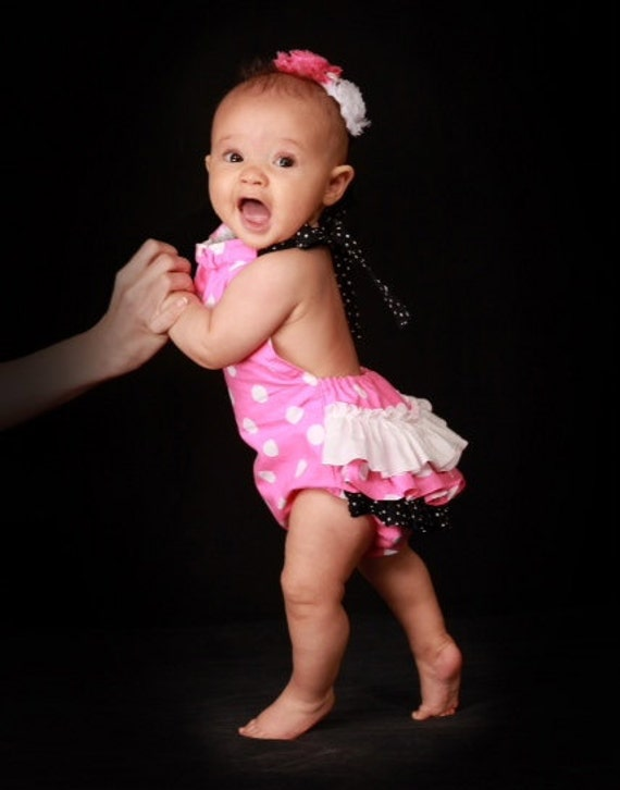 Minnie Mouse Inspired Ruffled Sunsuit Bubble Romper Pink and black with white polka dots Made To Order 0-3 months to 4T