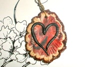 Lovers Heart pendant - one of a kind polymer clay bead