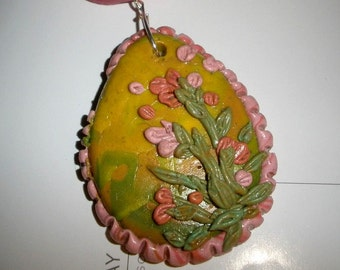 pendant necklace - Pink Garden - polymer clay embroidery