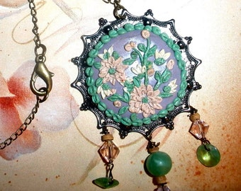 Clay embroidery necklace - Polymer Clay flowers Spring Garden