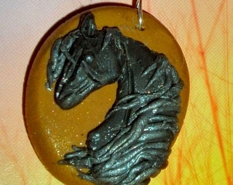 Arabian horse pendant necklace - Black and Silver polymer clay
