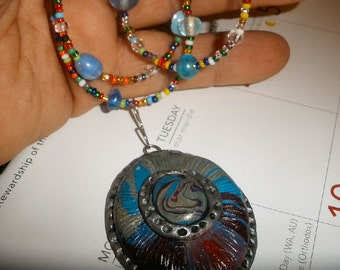 Lovely beaded necklace triple strand polymer clay pendant