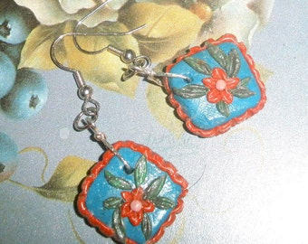 Polymer clay earrings - blue with rose pink and flowers