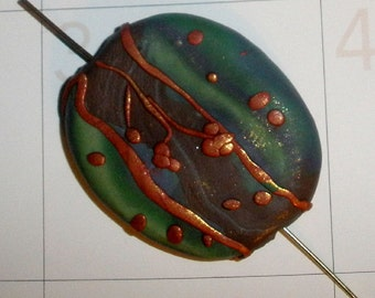 unique pendant bead - Polymer clay stripes with copper