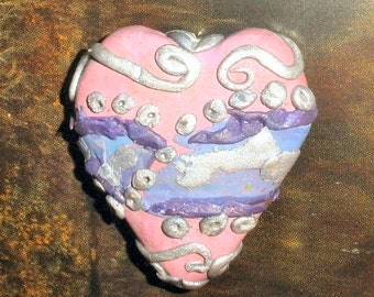 Polymer clay focal bead - lampwork inspired - large pink heart with blue and purple