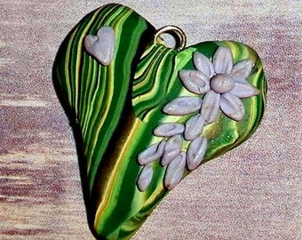 heart charm pendant - polymer clay green stripes with violet flowers