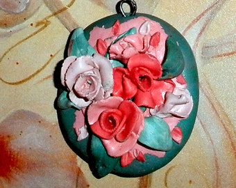 Pink Roses pendant handsculpted polymer clay