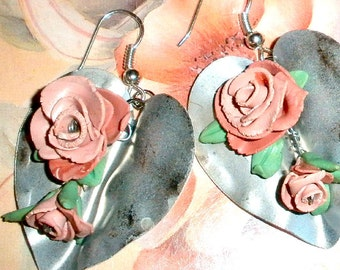 Roses on silver leaves earrings - polymer clay flower statement jewelry