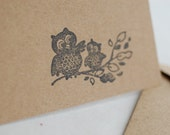 Autumn Owl Stationary, Stocking stuffer, Blank Kraft Paper Greeting Card, Hand stamped, Chi Omega, baby owl, momma owl, leaves, notecards