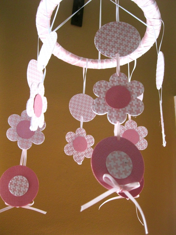 Pink and White Flowers Hanging Paper Mobile