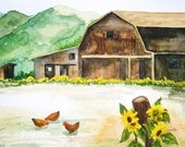 """Mountain Country barn with sunflowers and chickens from my watercolor, """"Three Chicks"""" available as a 11x14 matted print"""