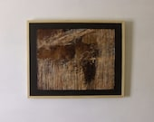 "Original painting. Encaustic. Human figure. Enigmatic. ""The River"". Framed. 31 1/2 x 25 1/2."