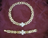 Opal Necklace, Choker. Faux Opal, Gold Tone Necklace and Bracelet.  Very High Fashion. Possibly Gold Plated.