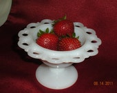 Milk Glass Pedestal Dish. Footed, Open Lace Compote or Candy Dish.