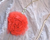 Hippie upcycled coral applique flower with pearls and chains - gift under 30 dollars -