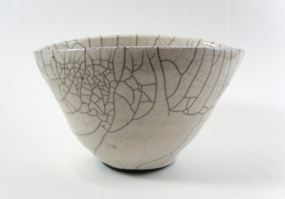 Ceramic Bowl, White Crackle, Raku Pottery
