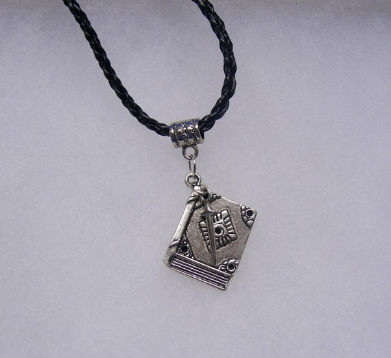 Harry Potter Inspired Book of Spells With Wand Necklace in Your Choice of Color