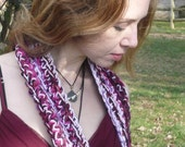 Gypsy Rose Scarf in pink & wine, long, warm with beaded ends, hand-crocheted pink scarf