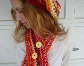 Red Orange Yellow Women's Hat & Scarf Cowl, crochet red winter hat scarf set