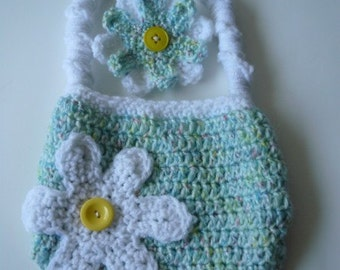 Girls Purse and Barrette, teal, yellow, green crochet purse, flower clip