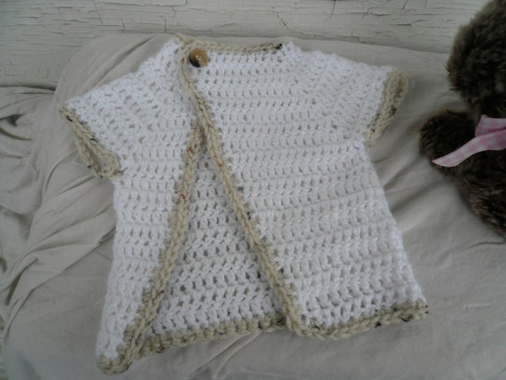 Baby Sweater crochet white and tan