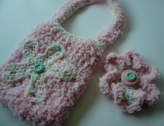 Girls Purse and Barrette, pink, flowers, hair clip