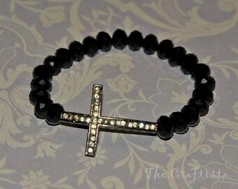Sideways Cross Bracelet -- Rhinestone Black Cross -- Black Crystals